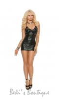 Wet Look Halter Mini Dress  EM-8132